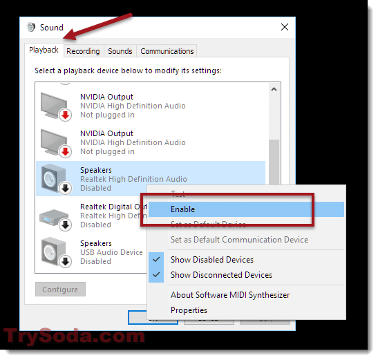 no sound in windows 10 select playback