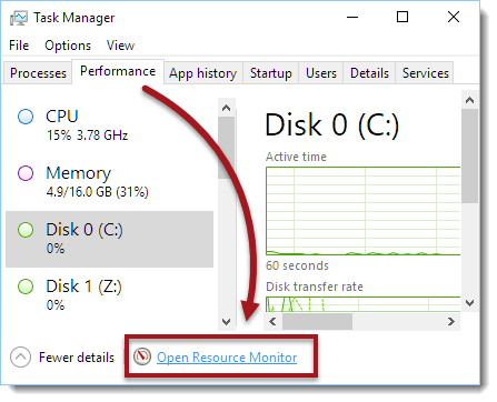 open resource monitor to check ping for game