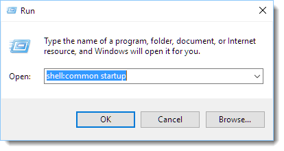 open startup folder in windows 10
