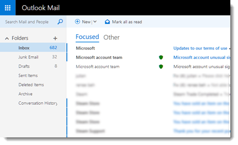 outlook mail interface