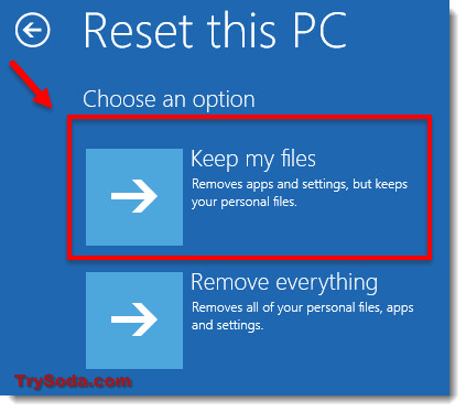 reset pc keep my files