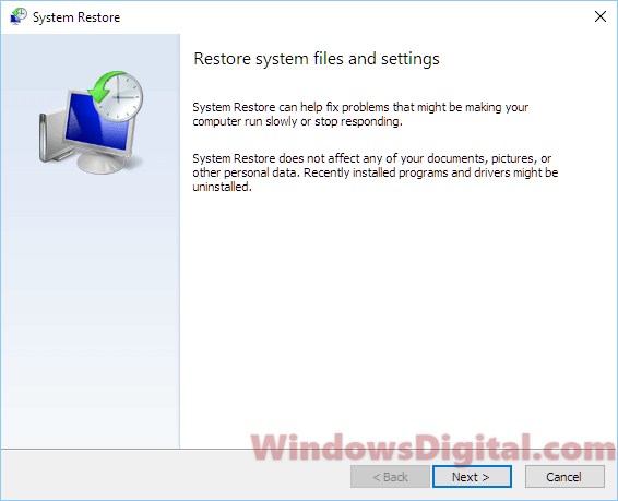 restore system files and settings windows 10