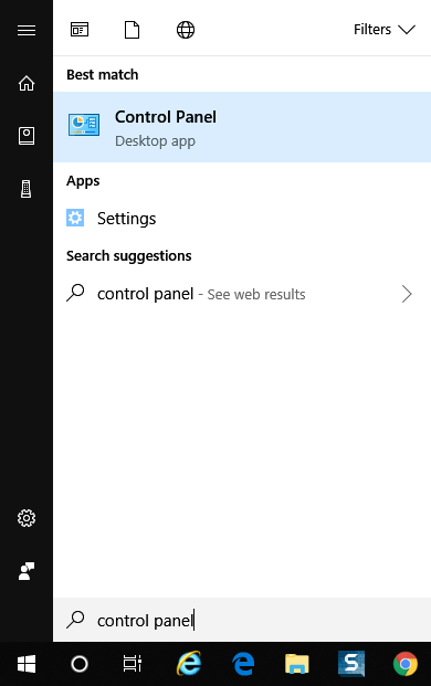 search for control panel in windows 10