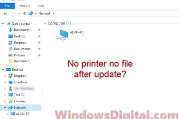 share printer not working after update Windows 10