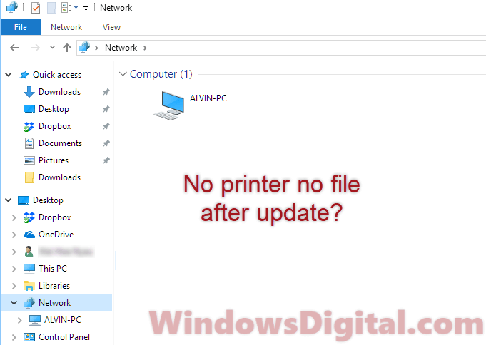 share printer not working after update Windows 10