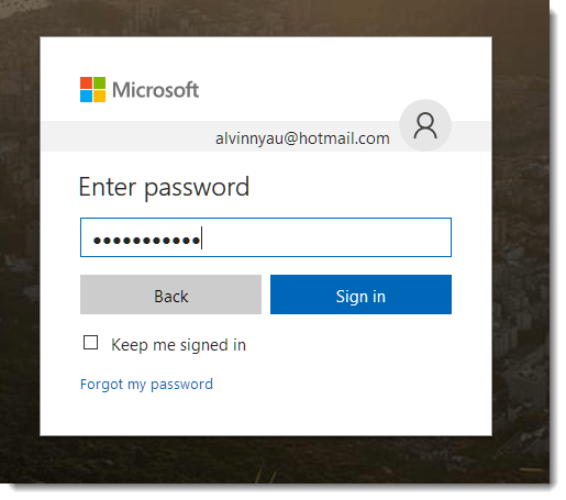 sign in to hotmail outlook mail password