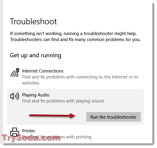 troubleshoot no sound windows 10