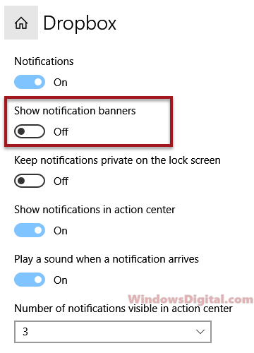 turn off dropbox show noficiation banner Windows 10