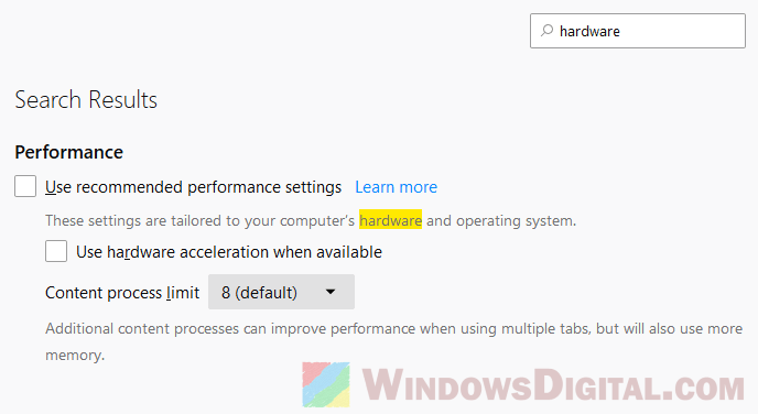 turn off hardware acceleration firefox video stuttering