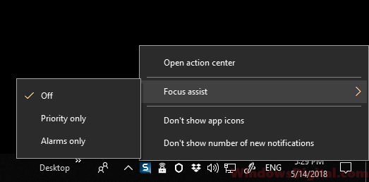 turn on focus assist to disable pop up windows 10