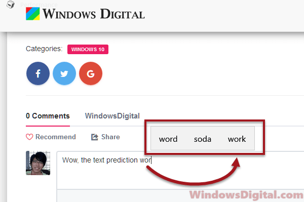 turn on off text prediction autocorrect Windows 10