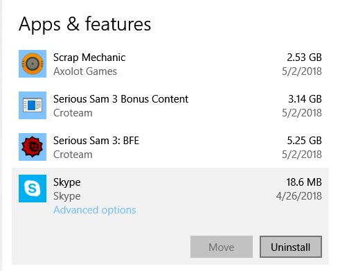 uninstall skype not connecting windows 10