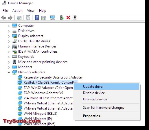 update network adapter driver windows 10