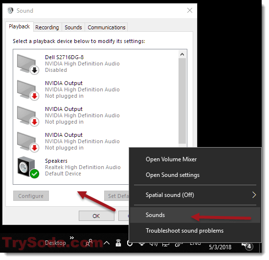where is Playback Devices in windows 10