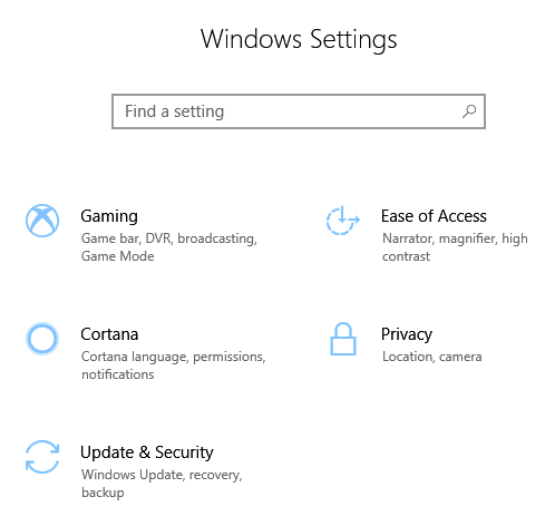 windows setting update security for rollback