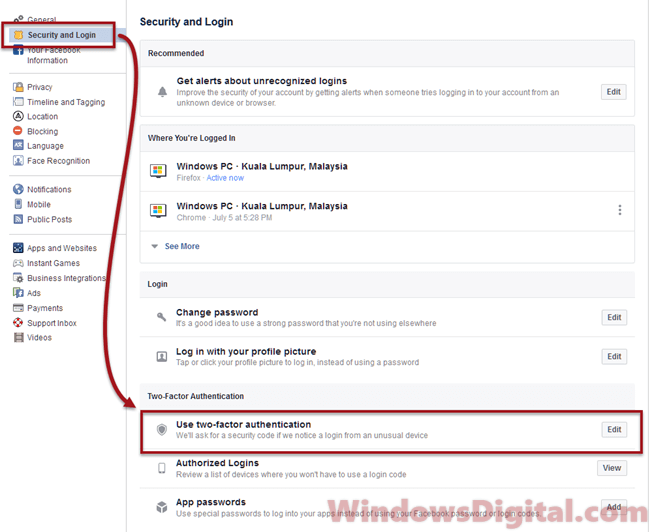 www.facebook.com log in two-factor authentication